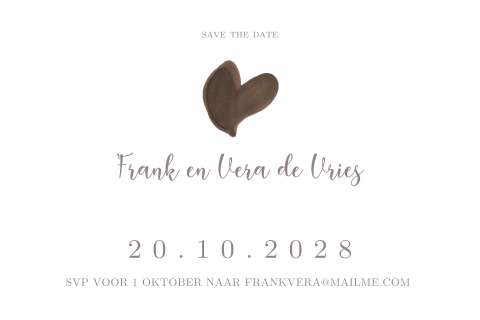 Moderne save the date kaart in zwart wit en goudlook accent