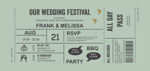 Wedding ticket festival