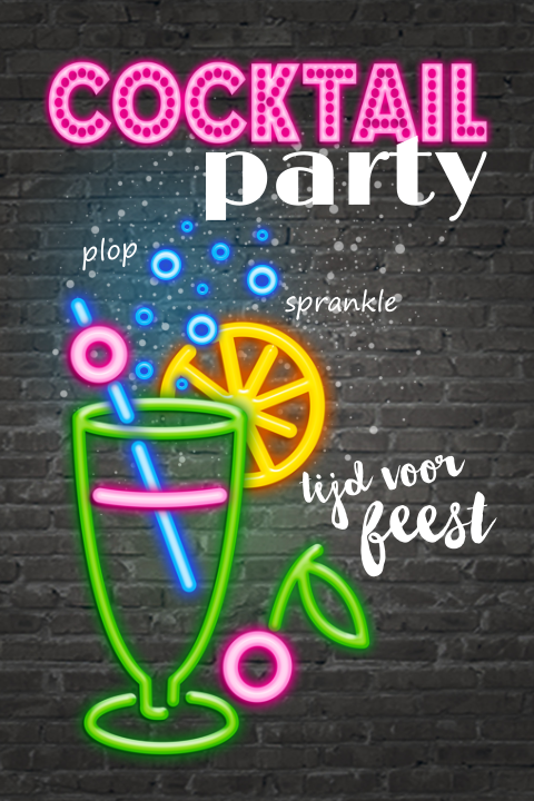 Originele uitnodigingskaart neon party met cocktail