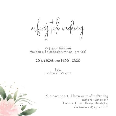 Prachtige Summer Romance save the date kaart met gedicht