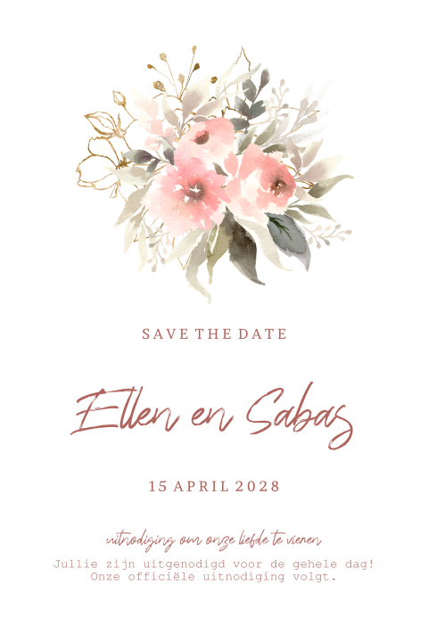 Romantic save the date kaart watercolor bloemen