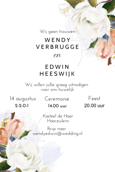 Romantic save the date kaart met olieverf uitstraling