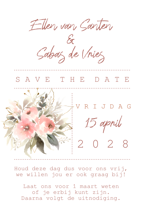 Romantische aquarel bloemen save the date kaart trouwen