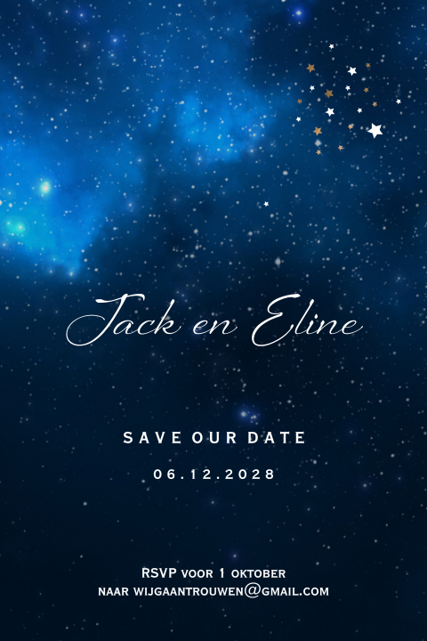 Midnight save the date kaart met donkerblauwe sterrenhemel