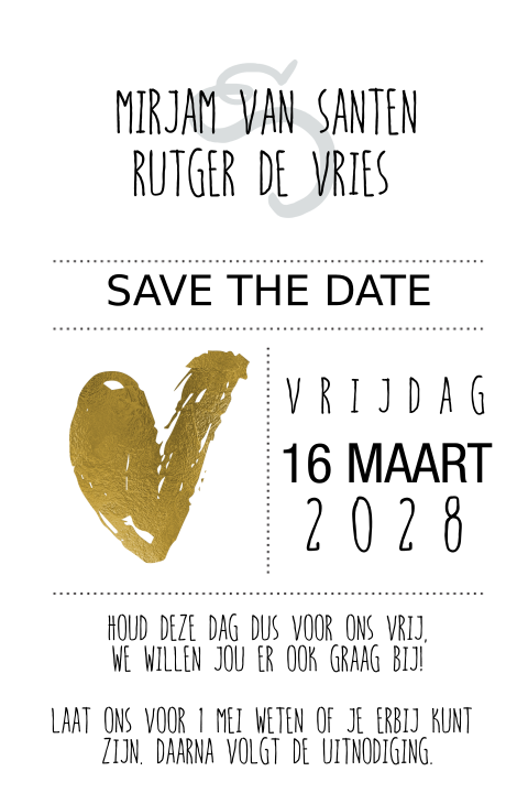 Clean save the date kaart trouwen goud folie hart