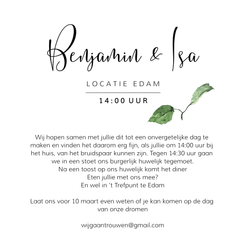 Stijlvol save the date design met wit met takje