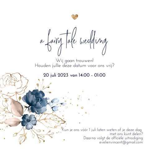 Summer romance save the date gedicht met flowers