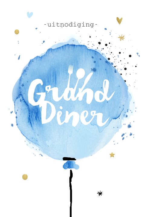 Hippe uitnodiging grand diner waterverf ballon