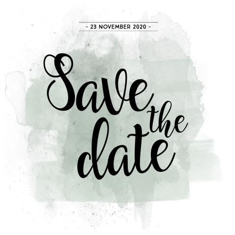 Hippe save the date met olijf groene watercolour brushes