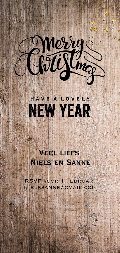 Winterse hout design kerst-save-our-date-kaart met goud glitter look