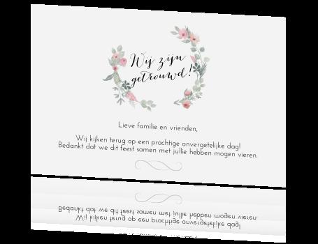 Enkele Foto Bedankkaart Trouwen Watercolor Bloemen