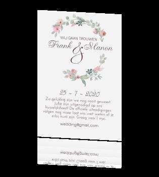 Romantische Uitnodiging Huwelijk Met Bloemen In Roze Tint
