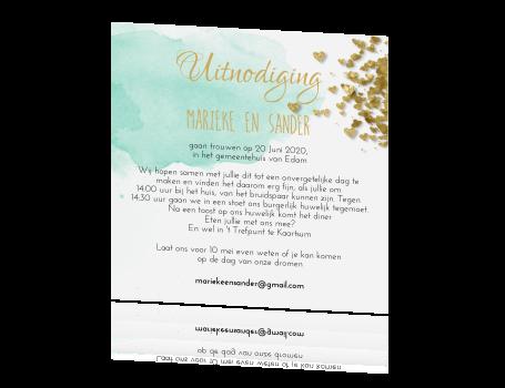 Uitnodiging Bruiloft Groene Aquarel Goud Hartje