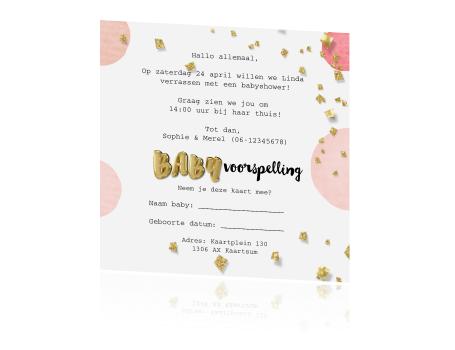 Bekend Folie ballon babyshower kaartje meisje confetti zelf maken #QW64