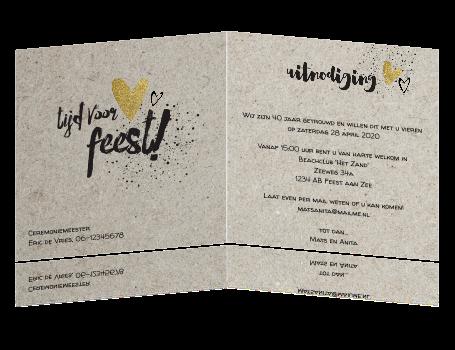 uitnodiging 40 jaar jubileum Huwelijksjubileum uitnodiging met kraft en losse teksten uitnodiging 40 jaar jubileum