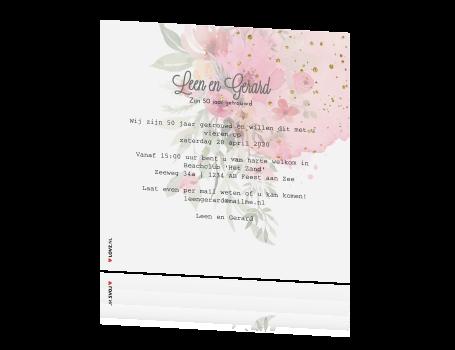Uitnodigingskaart Gouden Huwelijk Met Watercolor Bloemen