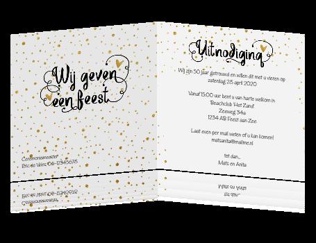 Super Foto gouden huwelijk 50 jaar uitnodiging confetti en sierletters HK-92