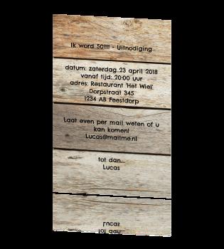 Uitzonderlijk Enkele uitnodiging met hout en stempel &IR31
