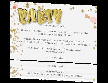 25 Jaar Uitnodiging Met Gouden Folie Ballon Cijfers
