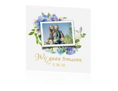 Enkele Uitnodiging Bruiloft Met Aquarel Bloemen
