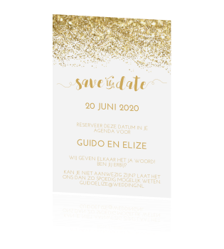 Chique save the date goud glitter poeder