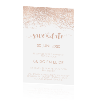 Chique save the date oud roze glitter poeder