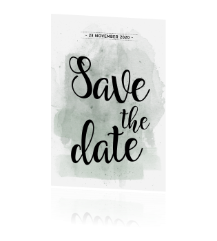 Unieke save the date met groen watercolor brushes