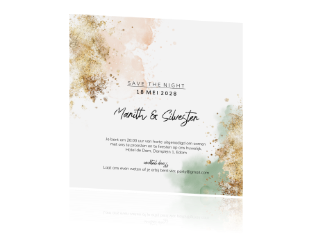 Chique save the night design met watercolor