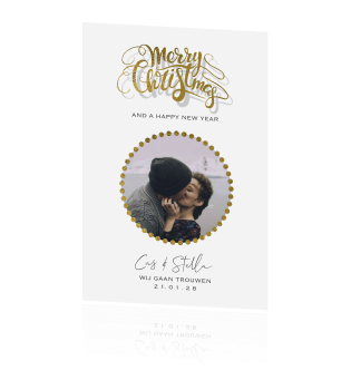 Chiq clean kerst save the date kaart met goud look sierletters