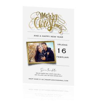 Clean kerst save the date kaart goud folie look sierletters