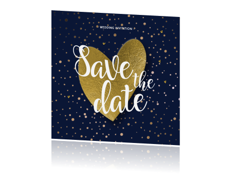 Hippe enkele kraft save the date goud folie hart