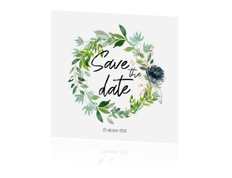 Hippe Eucalyptus plant krans save the date uitnodiging