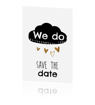Zwart wit save the date kaart met hartjes in een koper look
