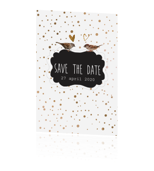 Vintage Save the date kaart met koper dots