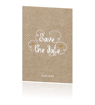 Hippe staande kraft save the date kaart met hand lettering