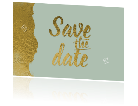 Chic save the date kaart goud folie en lijn diamantjes