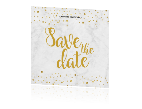 Marmer enkele save the date goud confetti
