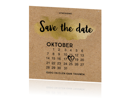 Hippe enkele kraft save the date kaart kalender