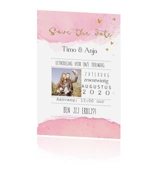Enkel foto save the date kaart watercolor en goud