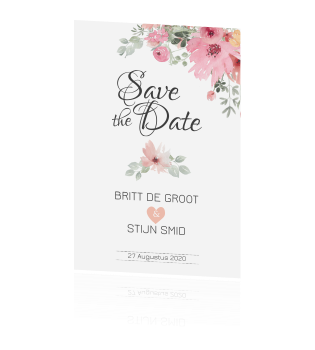 Romantische save the date kaart met watercolour bloemen