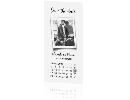 zwart wit save the date met kalender en eigen foto