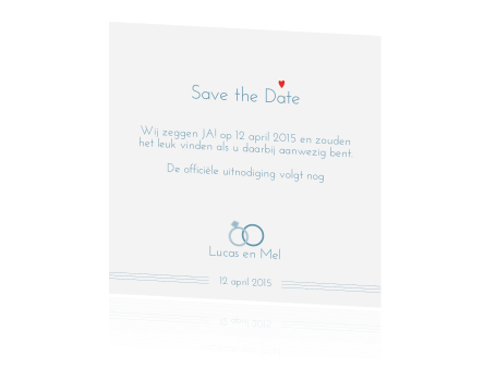 Moderne Save the Date kaart met ring en hartje
