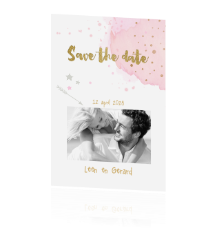Hippe foto uitnodiging save the date watercolour en goud