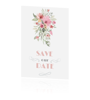 Hippe uitnodiging save the date watercolour en goud