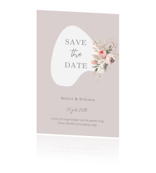 Romantische save the date kaart met watercolor flowers