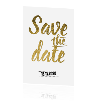 Enkele save the date trouwkaart goud folie letters