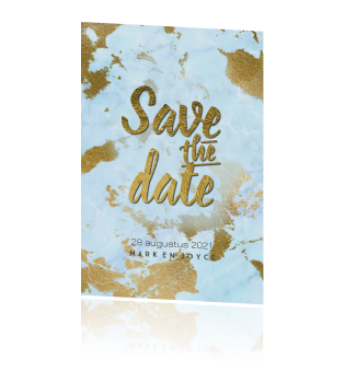 Save the date uitnodiging turquoise blauw goud look marmerprint