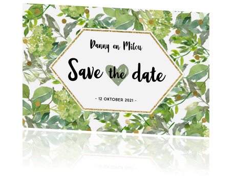 Originele save the date kaart botanisch green met goud look
