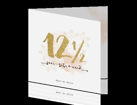 12,5 jarig huwelijksjubileum uitnodiging met watercolor en goud look