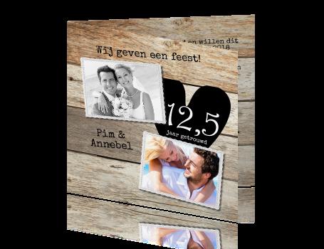 uitnodiging maken 12 5 jarig huwelijk 12,5 Huwelijks jubileumkaart met foto collage uitnodiging maken 12 5 jarig huwelijk